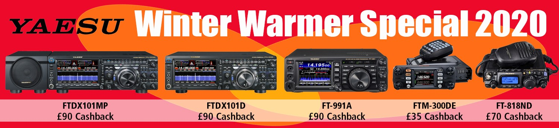 Yaesu Winter Warmer Special 2020 choose from YAESU FT-DX101D with £90 cashback, YAESU FTM-300DE with £35 cashback, YAESU FT-991A with £90 cashback, YAESU FT-818ND with £70 cashback, YAESU FTDX101MP with £70 cashback. Click here for further details.