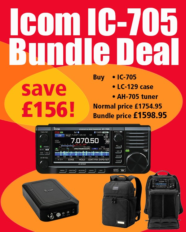 Icom IC-705 Bundle Deal Save £156. Buy IC-705, LC-129 Case, AH-705 Tuner, Normal Price £1754.95, Bundle Price £1598.95